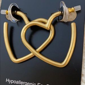 J. Crew Factory Antique Gold Heart Hoop Earrings